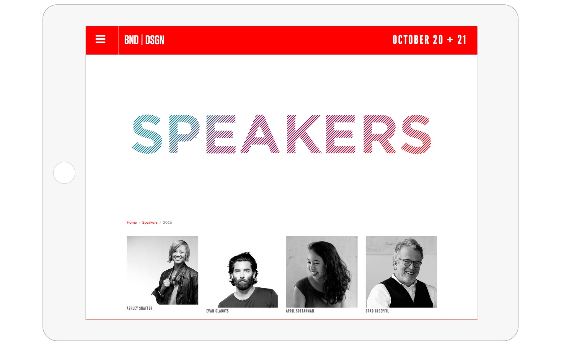 Bend Design Conference - Speakers Page