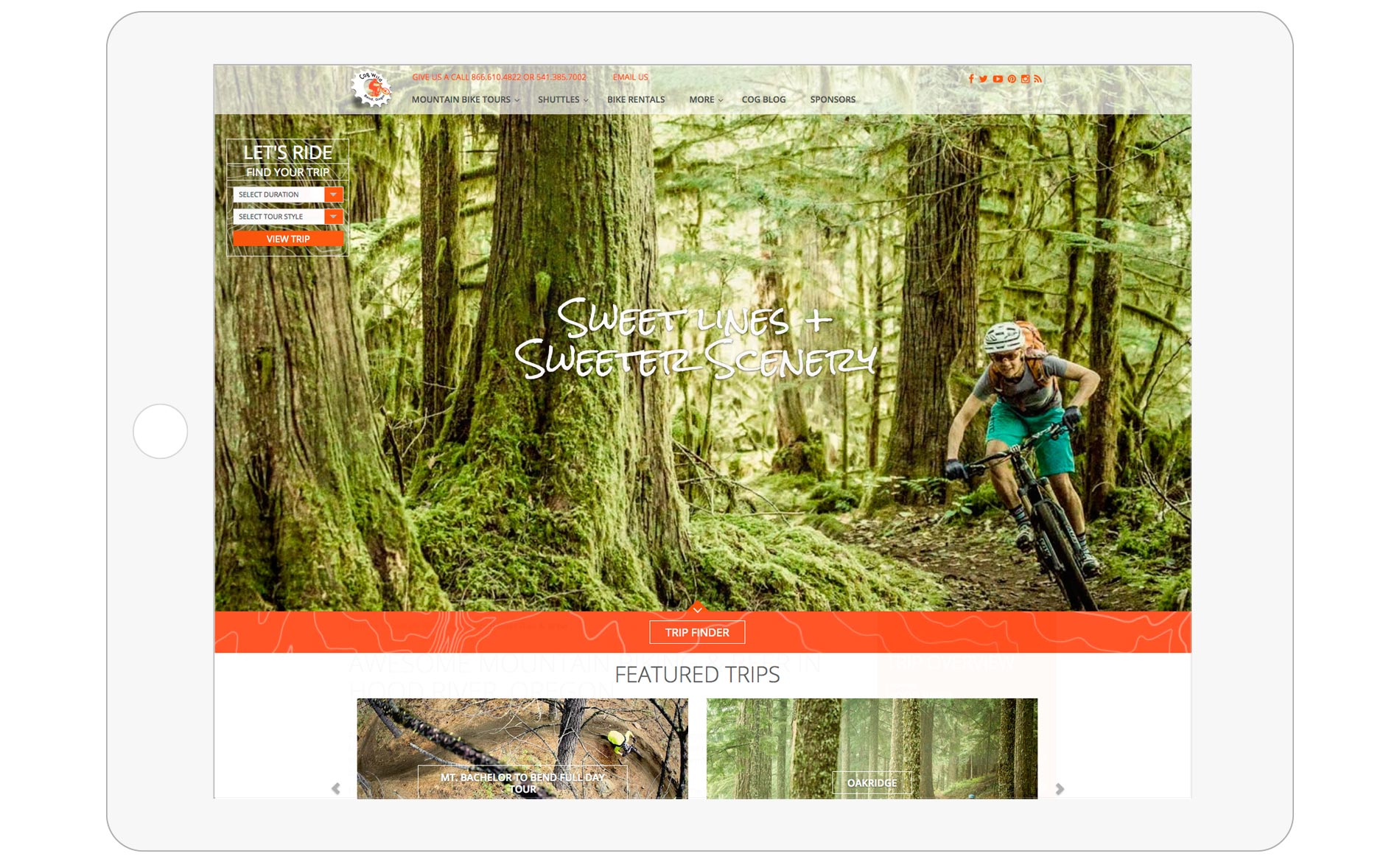 Cog Wild Mountain Bike Tours Web Design - Home Page