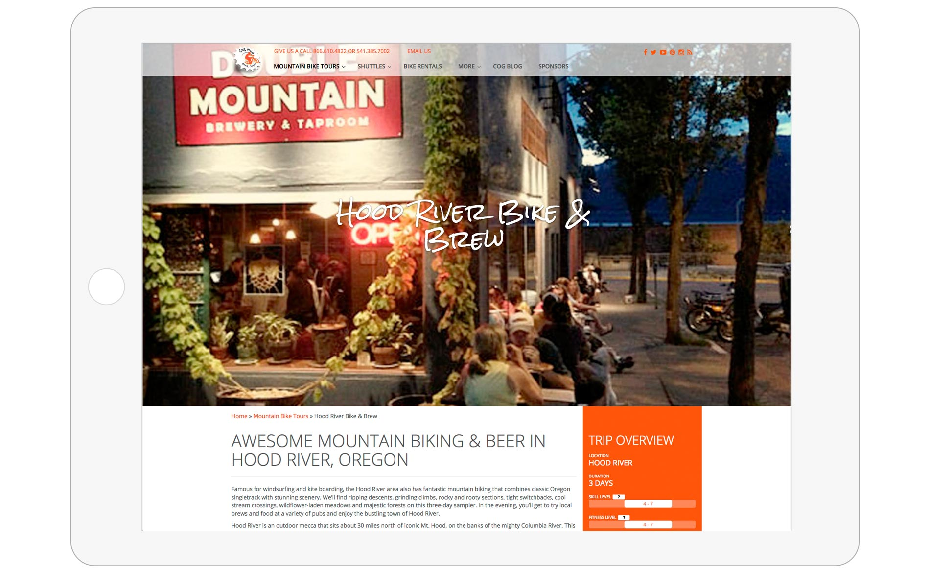 Cog Wild Mountain Bike Tours Web Design - Tour Page