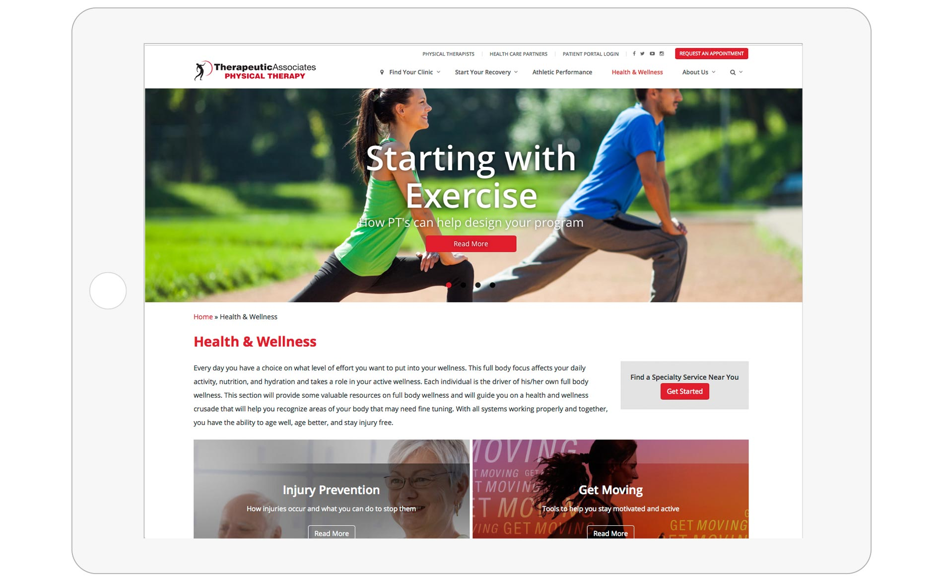 Therapeutic Associates Web Design - Health & Wellness Image