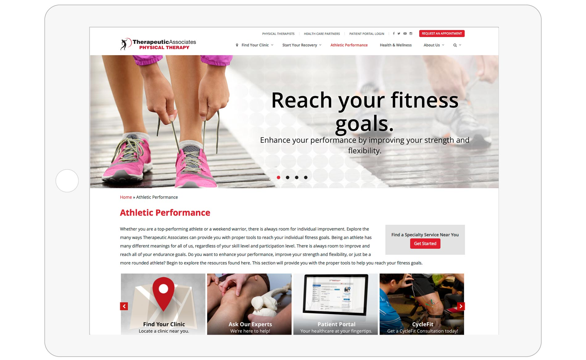 Therapeutic Associates Web Design - Athletic Performance