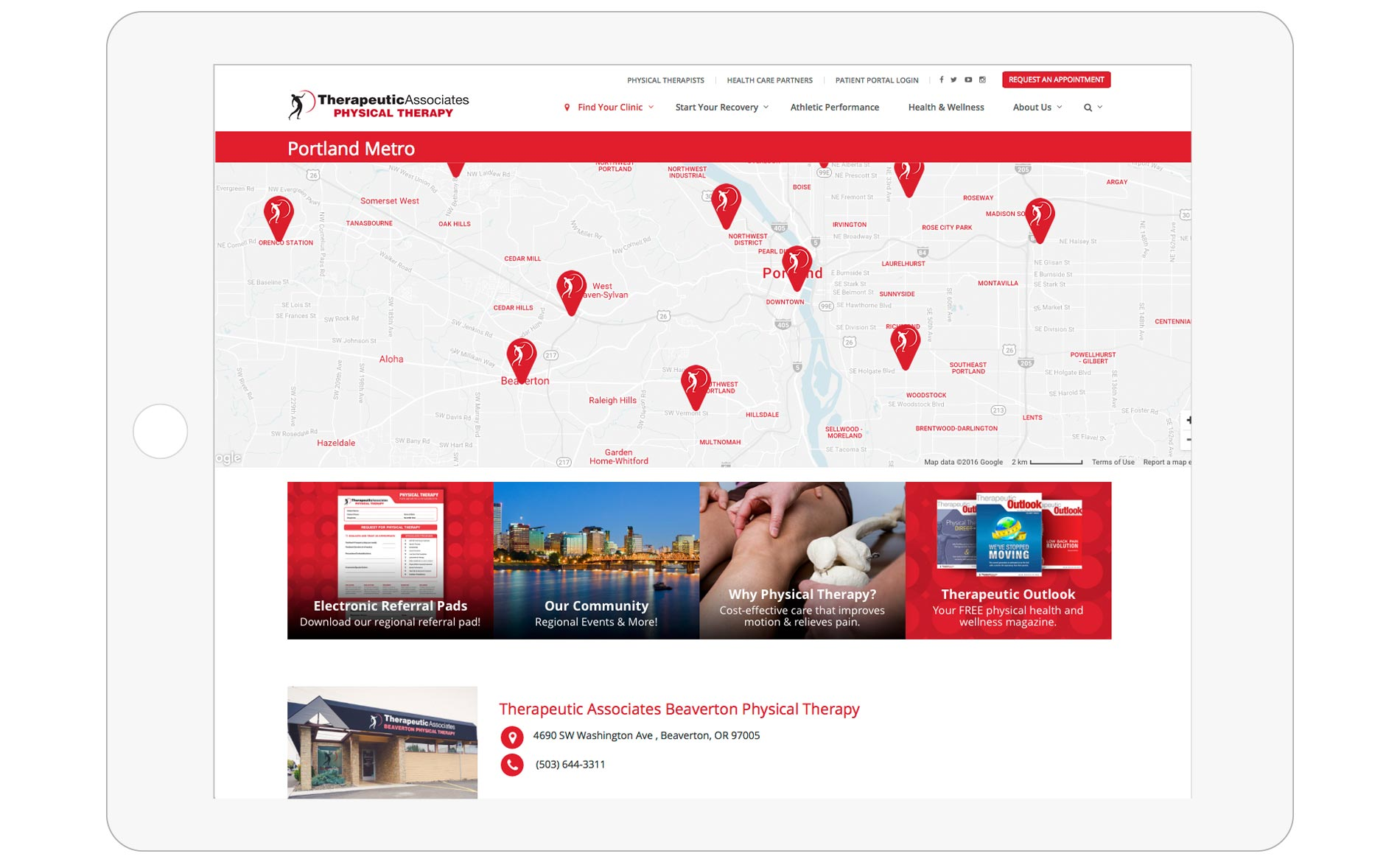 Therapeutic Associates Physical Therapy - Website Redesign - Find Your Clinic