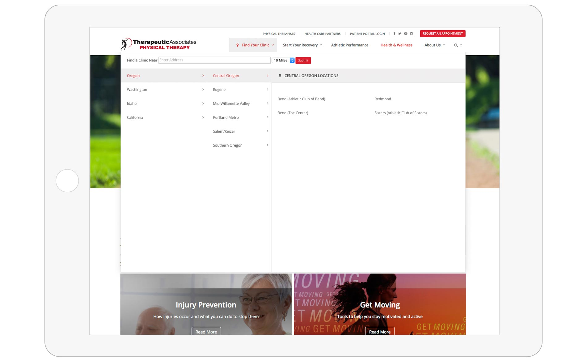 Therapeutic Associates Website Redesign - Navigation