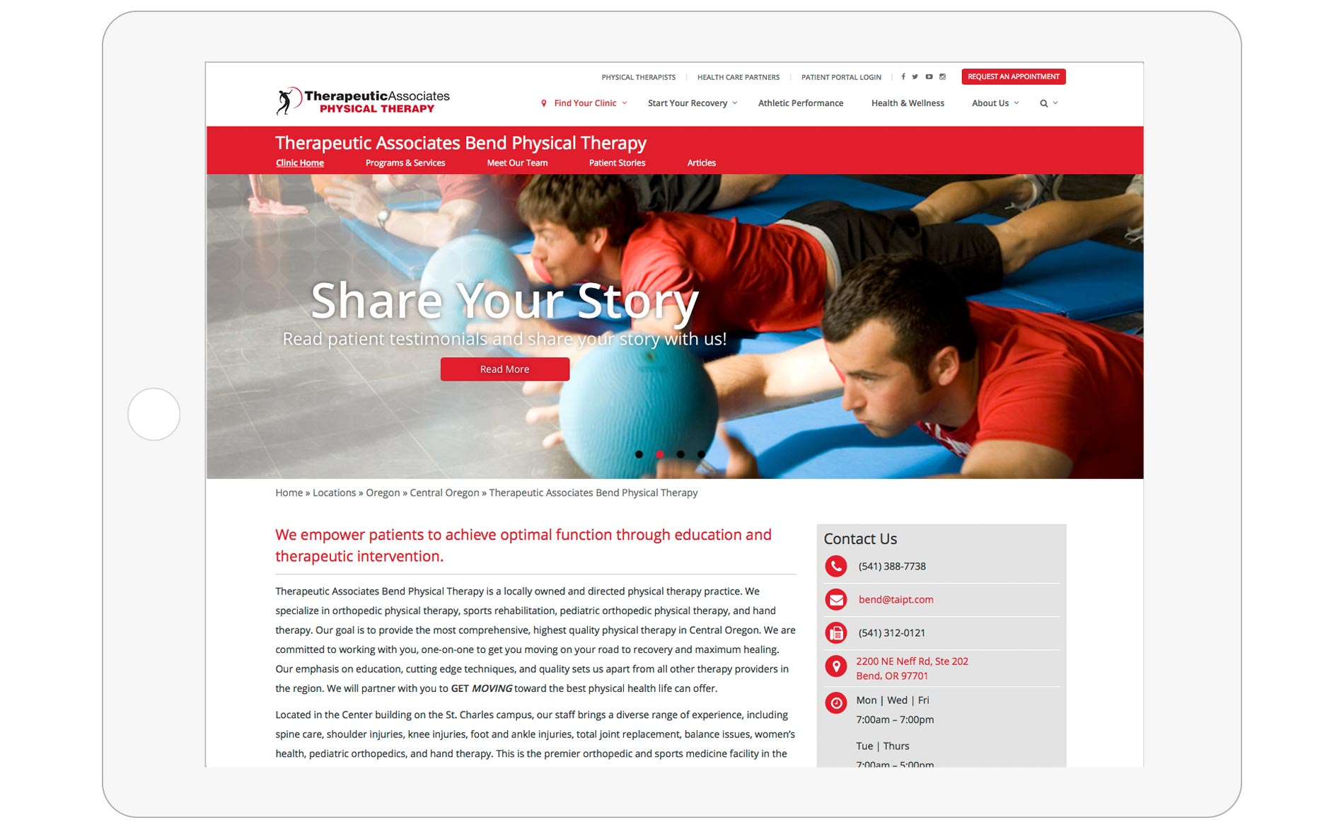 Therapeutic Associates Website Redesign - Clinic Page