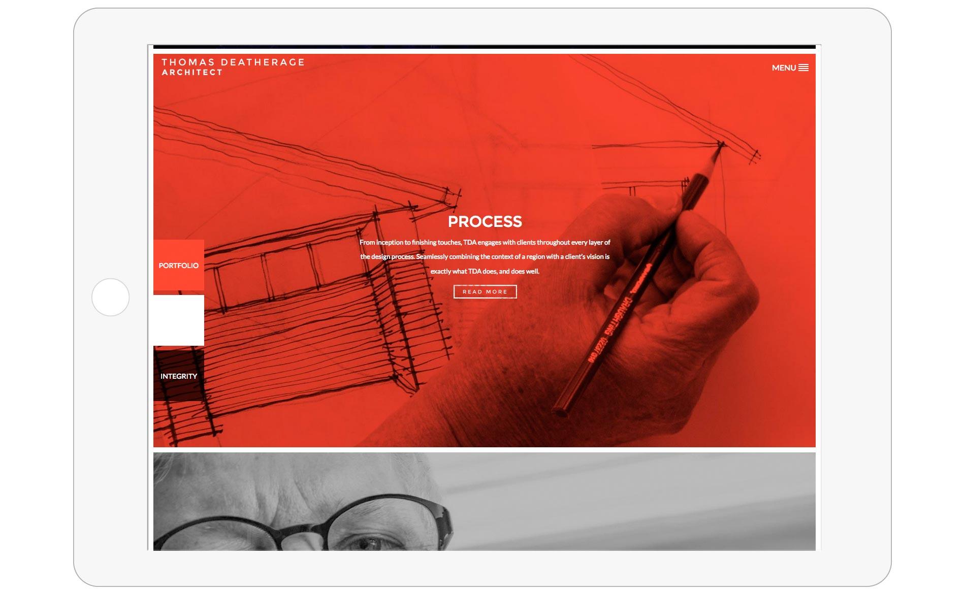 Thomas Deatherage Website Design - Tablet - Home