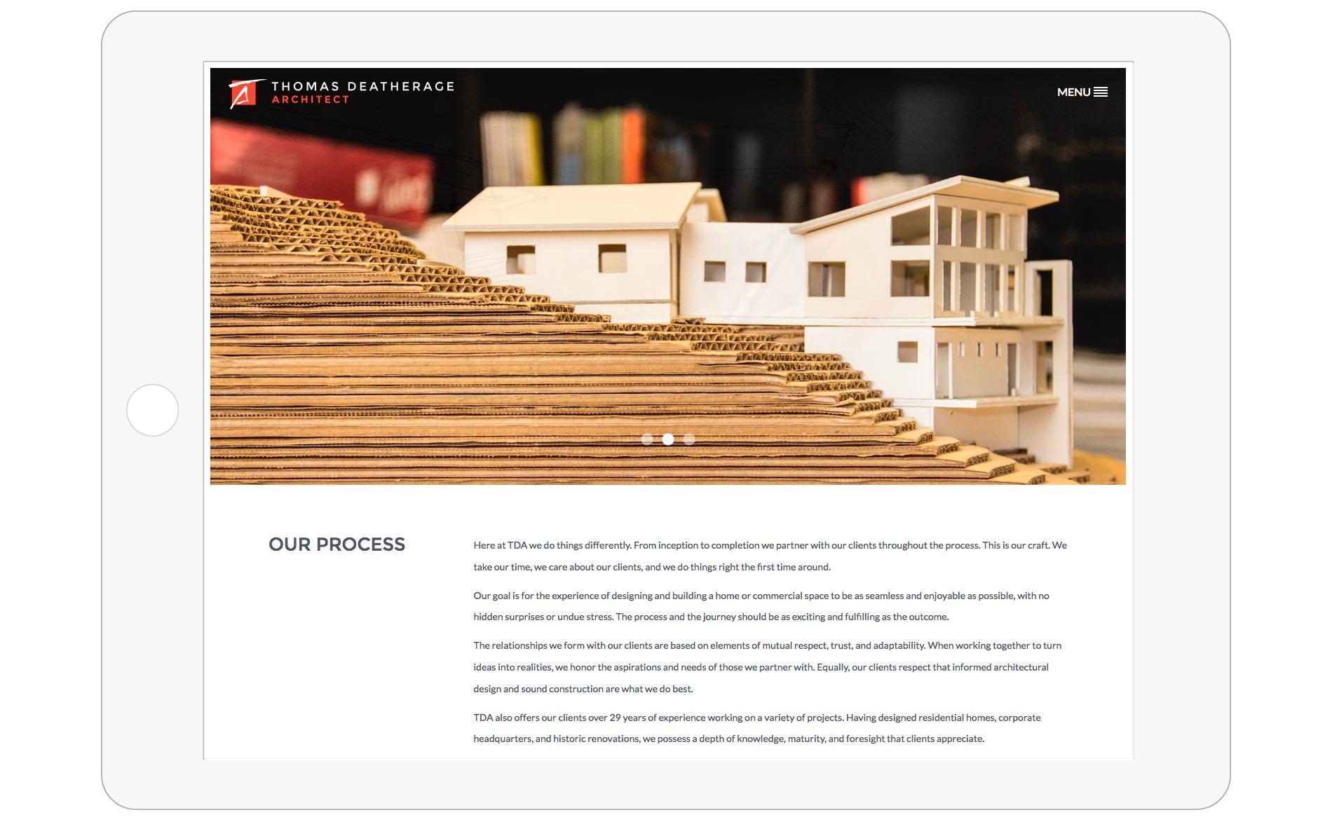 Thomas Deatherage Website Design - Tablet - Process