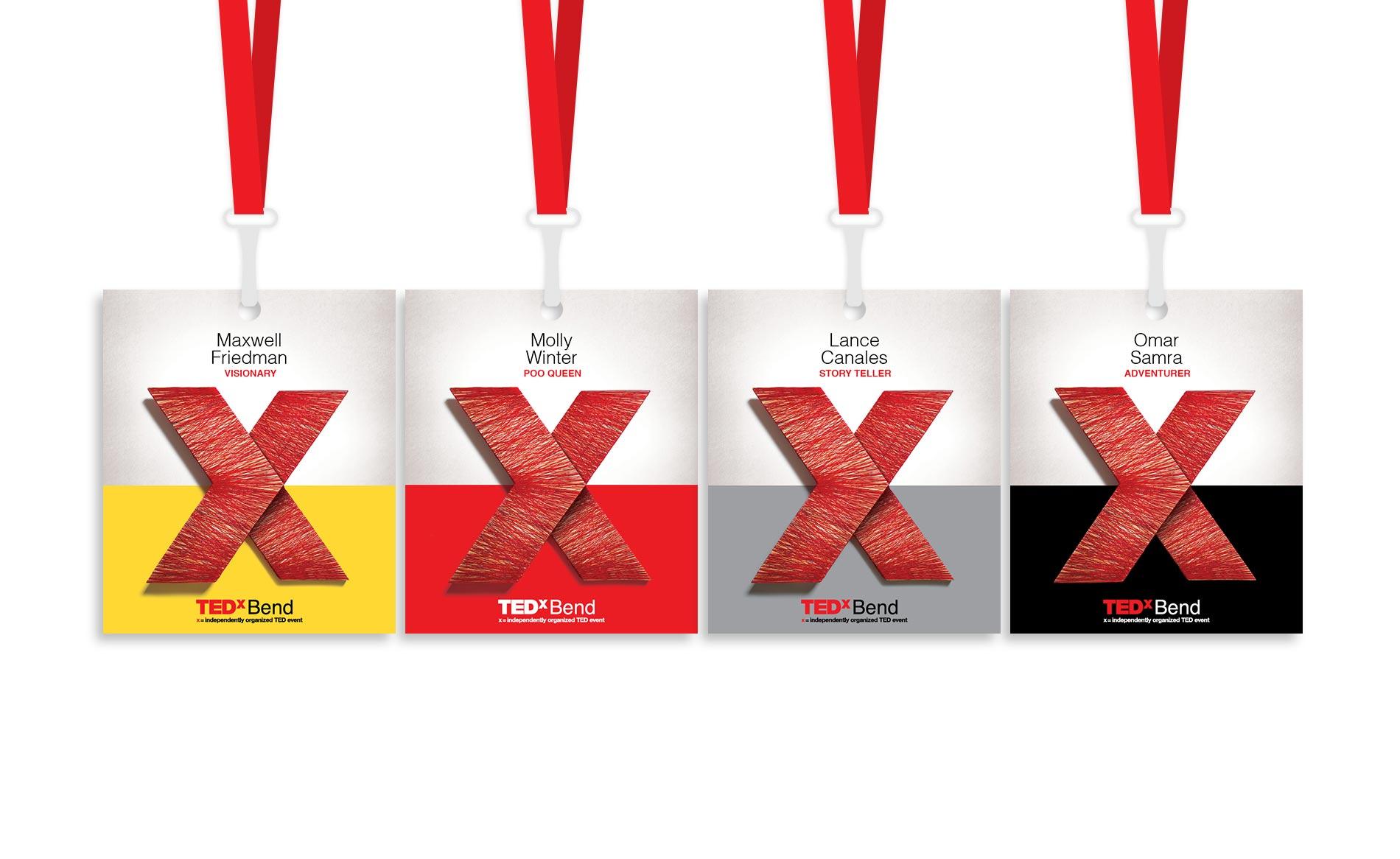 TedXBend - Graphic Design - Speaker Badges