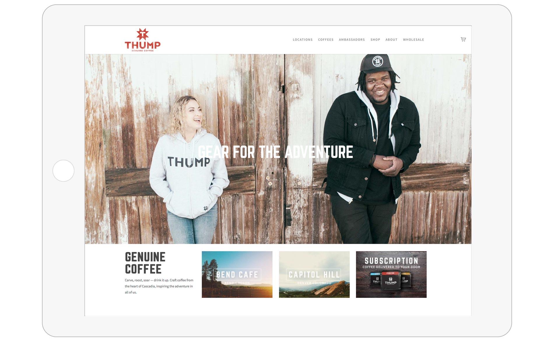 Thump Coffee Web Design - Tablet - Homepage