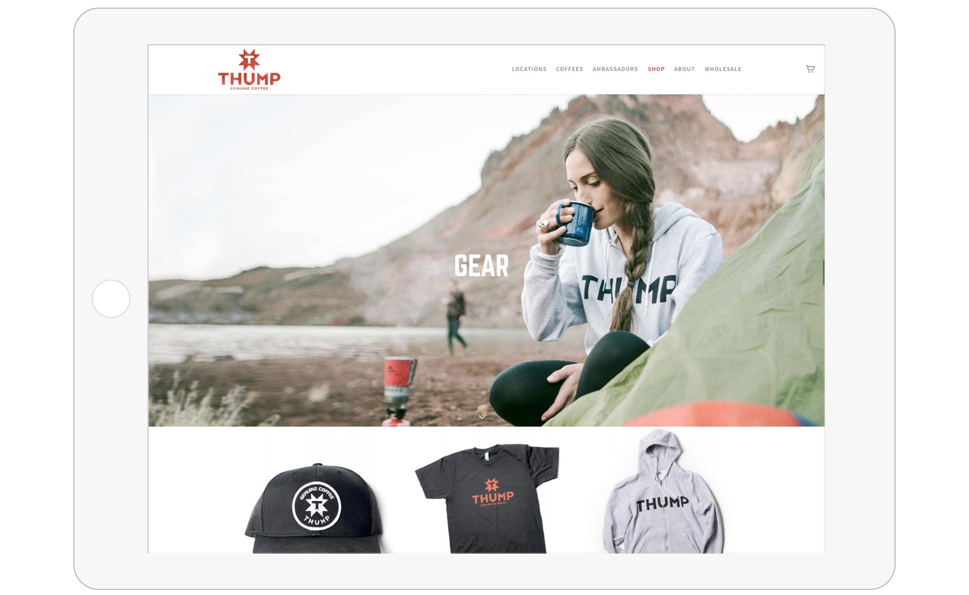 Thump Coffee Web Design - Tablet - eCommerce