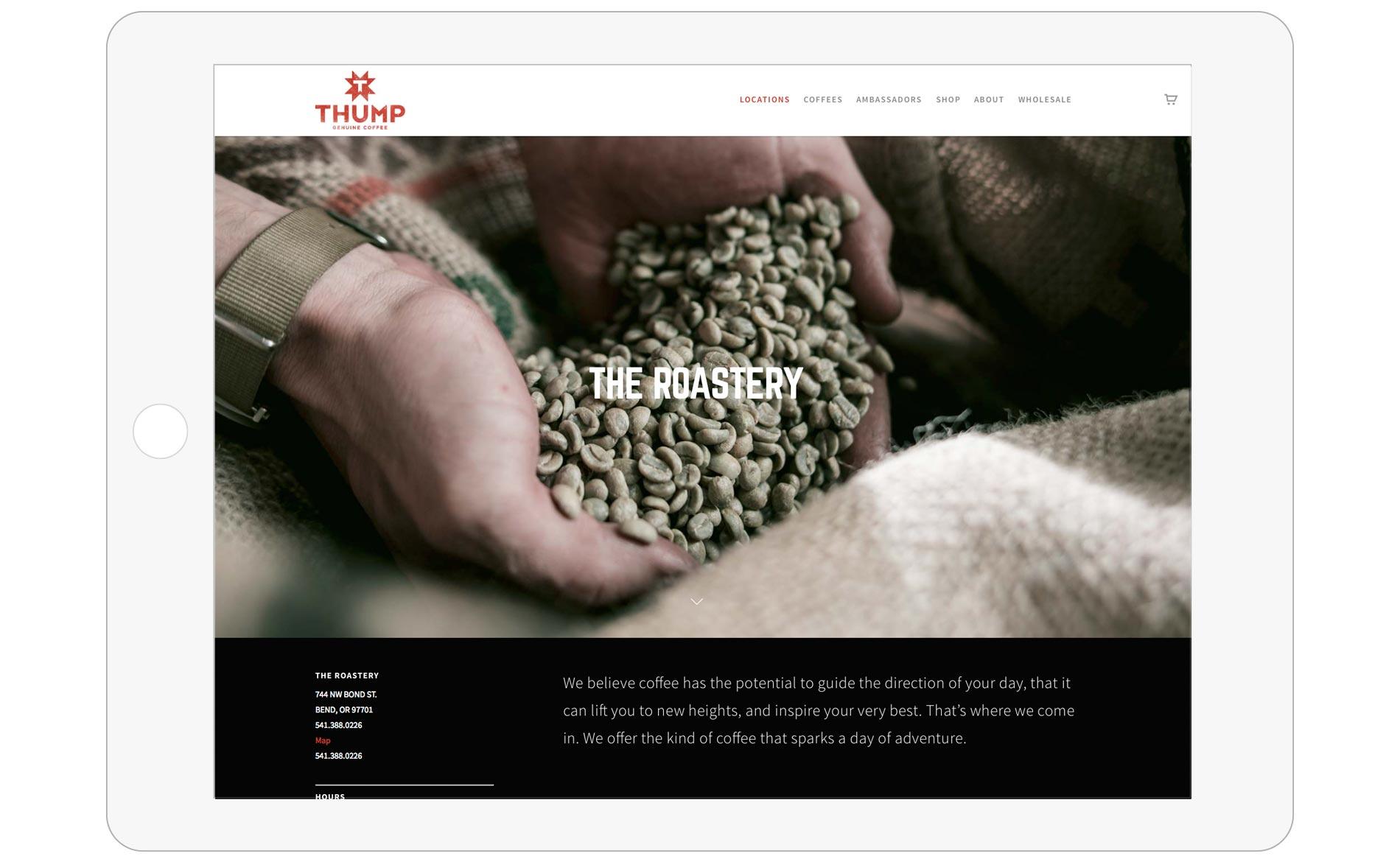 Thump Coffee Web Design - Tablet