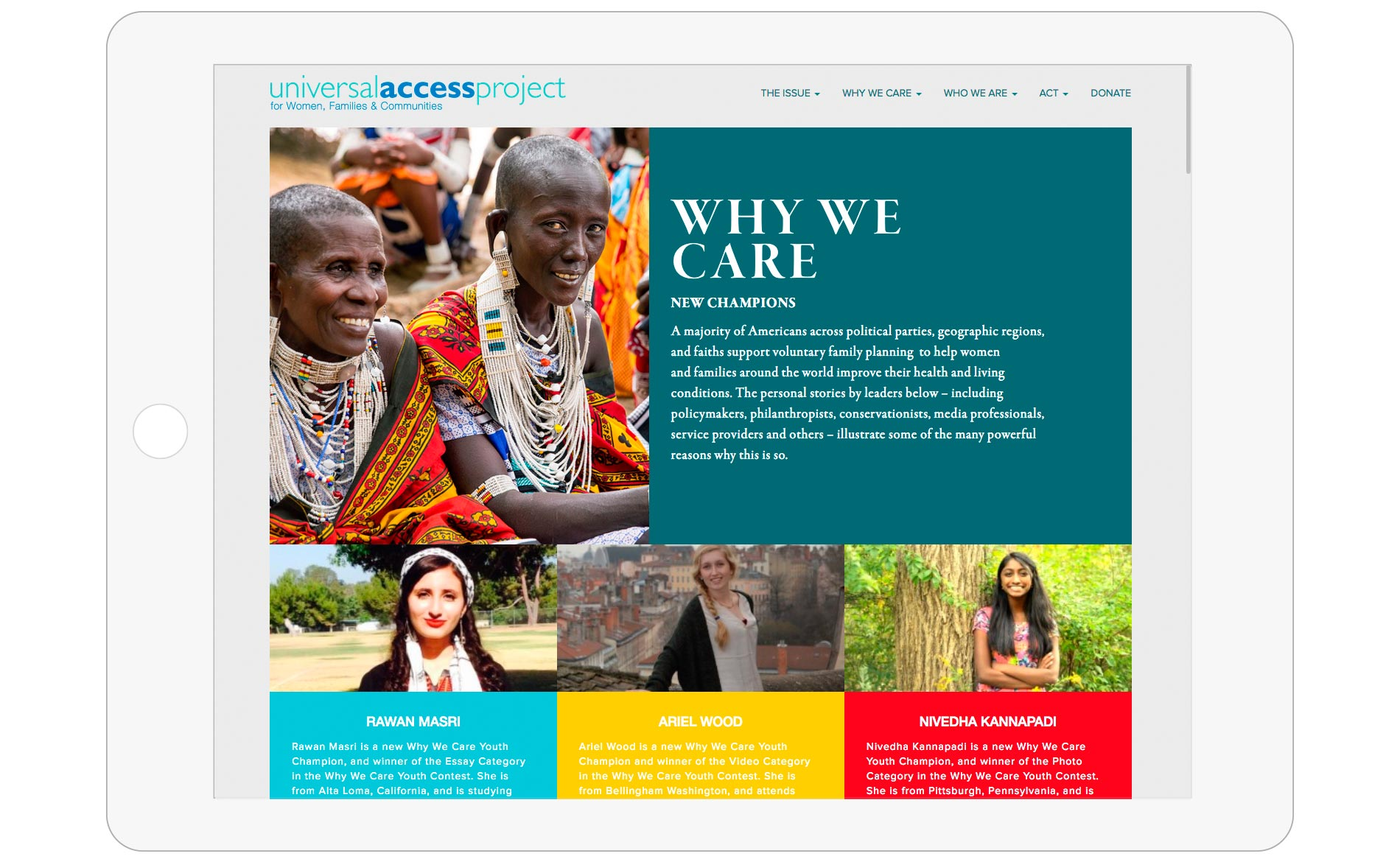 Universal Access Project - Website Design - Homepage