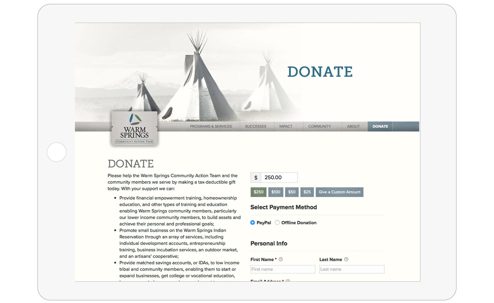 Warm Springs Community Action Team Website Design - Donate Page