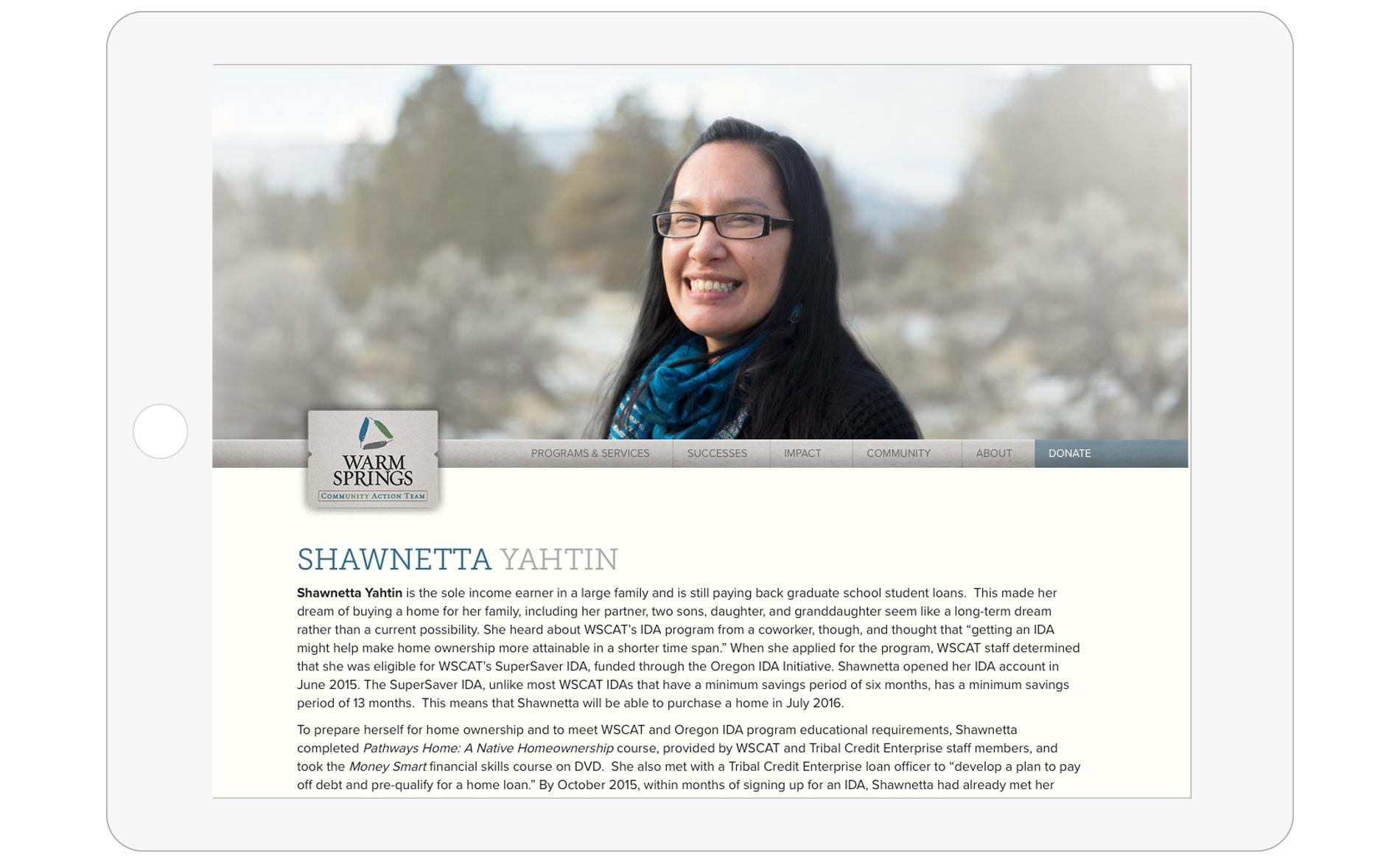 Warm Springs Community Action Team Website Design - Successes