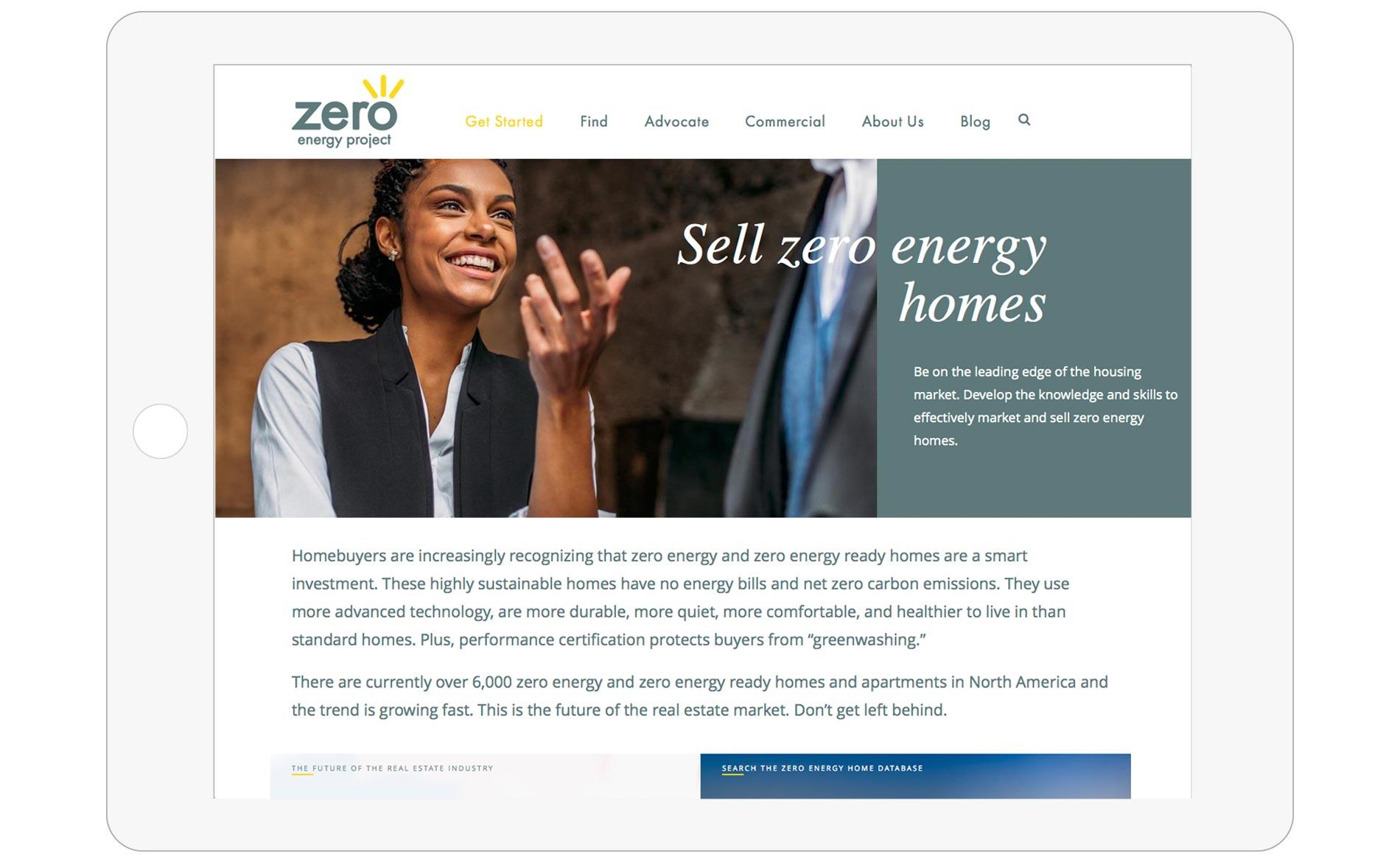 Zero Energy Project - Website Design - Standard Page