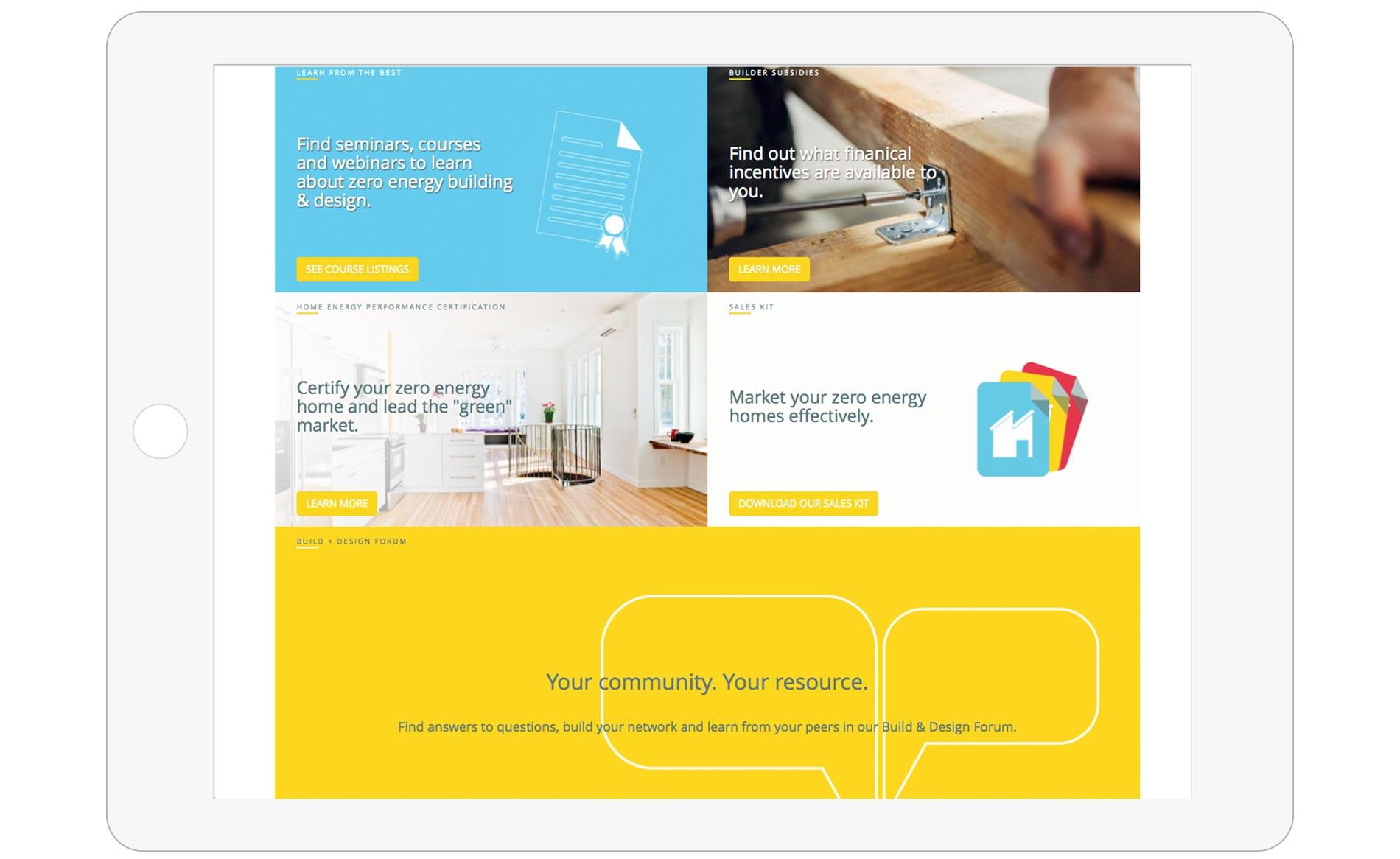 Zero Energy Project - Website Design - Homepage