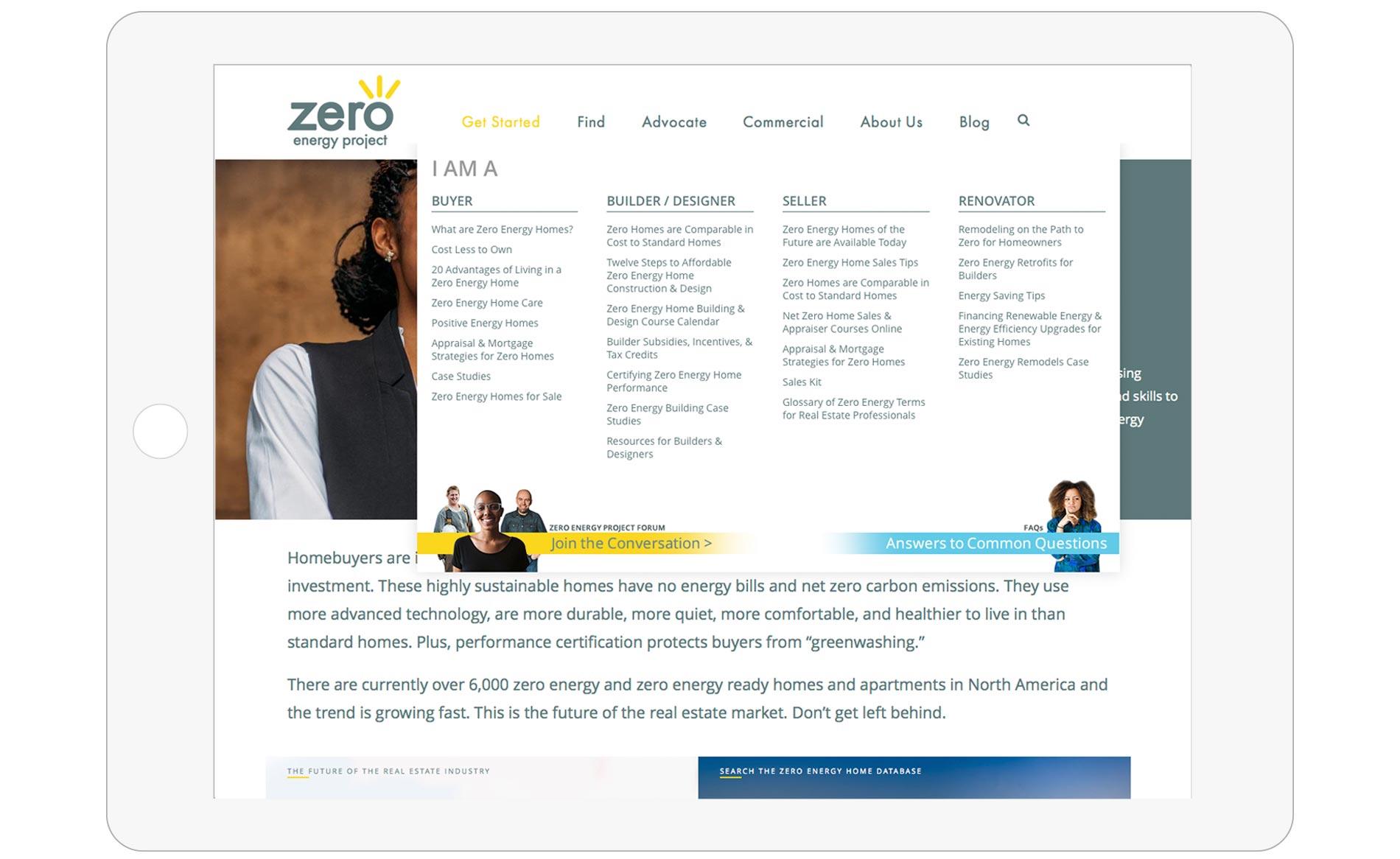 Zero Energy Project - Website Design - Navigation