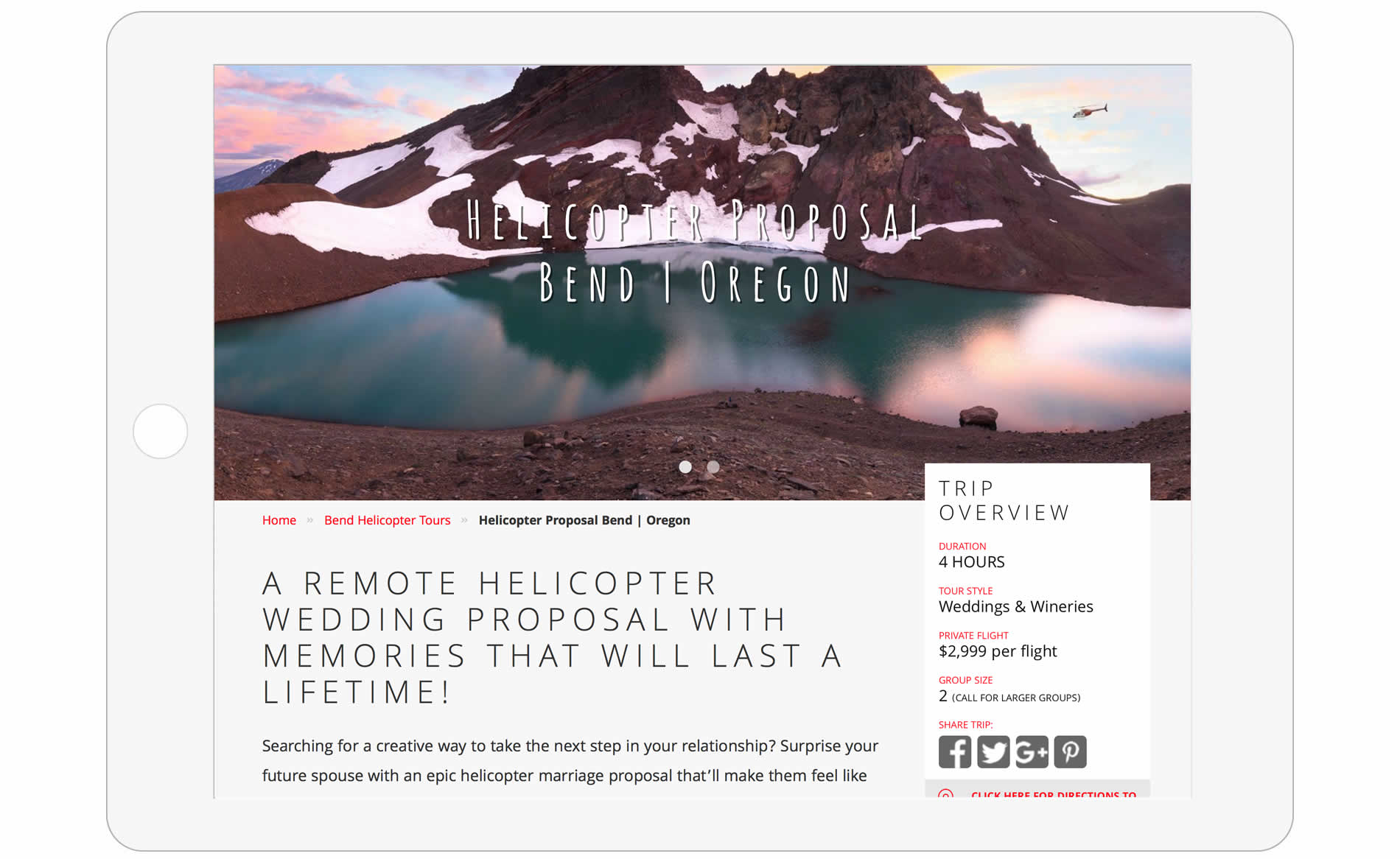 Big Mountain Heli Tours Website Design - Trip